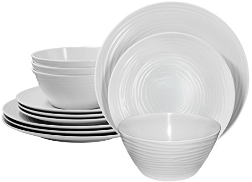 Parhoma White Melamine Plastic Home Dinnerware Set, 12-Piece Service for 4 - 12-piece round dinner set includes 4 dinner plates, 4 bread, and butter plates and 4 soup and salad bowls 100% Melamine material provides durability to resist chip, crack, and break. Melamine is a hard PLASTIC that can stand up to the rigors of everyday use. Safe and Easy Use - BPA Free, Dishwasher Safe, Stain Resistance, Heat Resistance up to 212° Fahrenheit temperature. Melamine dinnerware used in the MICROWAVE is NOT recommended. - kitchen-tabletop, kitchen-dining-room, dinnerware-sets - 41uy EDfx8L -