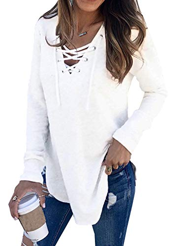 KCatsy Womens V Neck Long Sleeve Loose Casual Sweaters Pullover Tops White