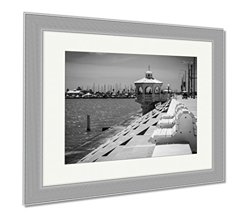Ashley Framed Prints Corpus Christi Texas Coastal City On The Gulf Of Mexico With Deep Perspective, Wall Art Home Decoration, Black/White, 30x35 (frame size), Silver Frame, - Gulf On Cities Texas The