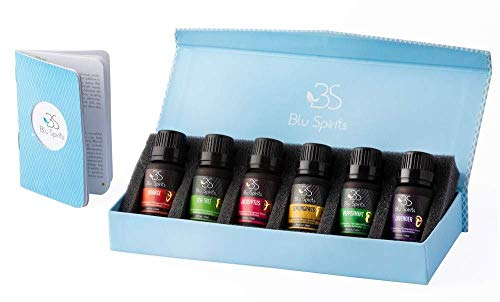 Premium Grade Essential Oils Set - BluSpirits Pack of 6 Therapeutic Grade oil for Aromatherapy (Lavender, Orange, Peppermint, Eucalyptus, Tea Tree, Lemongrass) (6) with free blend booklet