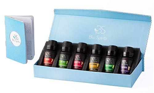 Premium Grade Essential Oils Set - BluSpirits Pack of 6 Therapeutic Grade oil for Aromatherapy (Lavender, Orange… 1