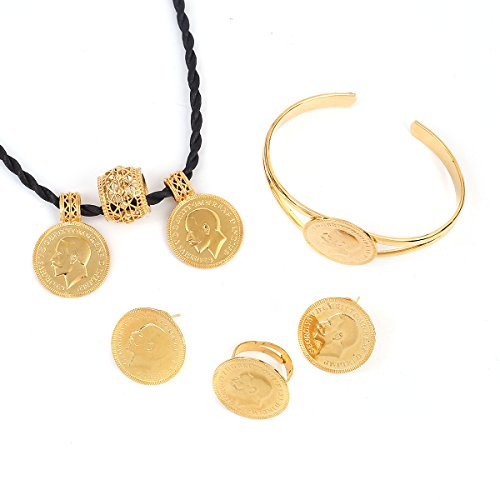 Jewelry Set Gold 24k (African 24K Gold Coin Jewelry Sets Ethiopian Coin Set Necklace Jewelry)