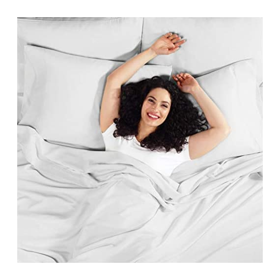 """6 Piece Queen Sheets - Bed Sheets Queen Size – Bed Sheet Set Queen Size - 6 PC Sheets - Deep Pocket Queen Sheets Microfiber Queen Bedding Sets Hypoallergenic Sheets - Queen - Silver Light Gray - WELCOME TO PARADISE: Discover the ultimate in high-end bedding with our silky smooth sheets and pillow shams! Empyrean bedding is woven from premium, high-quality microfiber material and double brushed on both sides for ultimate softness and comfort. Lightweight, breathable and cool to the touch, our luxuriously soft fitted sheet, flat sheet and pillow shams will create a heavenly sleeping experience! QUEEN SIZE: 6-piece set includes 1 deep pocket fitted sheet (60"""" x 80""""), 1 flat sheet (102"""" x 90"""") and 4 pillow cases (20"""" x 30""""). Our deep pocket fitted sheet has elastic all around the sheet as well as four additional elastic straps in each corner. This ensures a tighter, more secure fit that won't ride up or move around in middle of the night! Fits mattresses up to 16"""". Also available in Twin, Twin XL, Full, King, Split King and California King sizes. 5-STAR ELITE LUXURY: Create the bedroom of your dreams with our stunning selection of vibrant colors in a modern, elegant design! Beautiful, sophisticated and buttery-smooth, Empyrean bedding will provide you with irresistible comfort, rest and relaxation. Hotel-style luxury, sumptuous softness and classic style worthy of royalty are within your reach! - sheet-sets, bedroom-sheets-comforters, bedroom - 41uy03RAmkL. SS570  -"""
