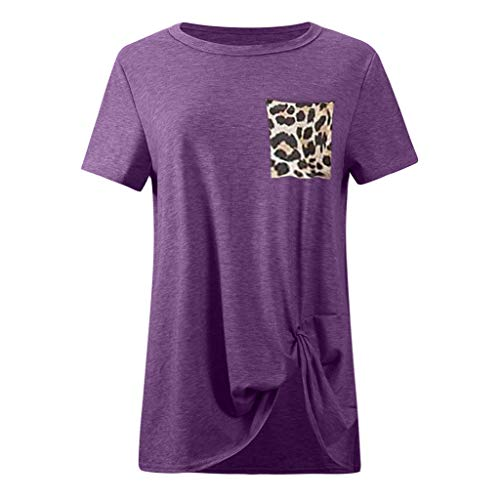 (Zalanala Womens Casual O Neck Leopard Short Sleeve Blouse Twist Knotted Tops T-Shirt (XXL, Purple))