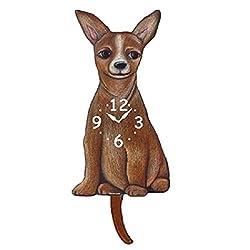 Tan Chihuahua Dog Wagging Tail Pendulum Clock