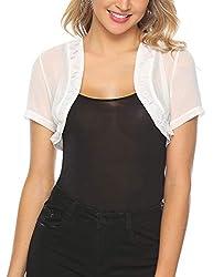 Aibrou Womens Short Sleeve Lace Bolero Shrugs For Dresses See Through Short Cardigan For Women