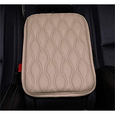 Forala Auto Center Console Pad,PU Leather Car Armrest Seat Box Cover Protector Protects from Dirt,Damage,Pet Scratches,Old Damaged Consoles (Beige): Automotive