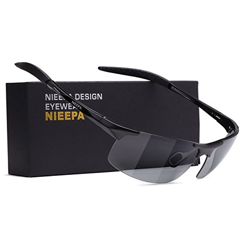 NIEEPA Photochromatic Mens Al-Mg Sports Polarized Sunglasses For Driving Ride Cycling Metal Unbreakable Frame Glasses (Discolor Lens/Black - Sunglasses Photochromatic