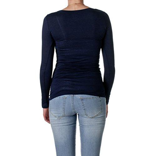 Hollywood Star Fashion Women's Long Sleeve Crewneck Cotton Top,Small,Navy