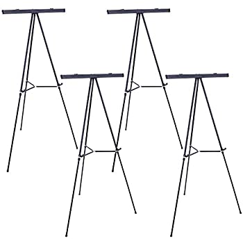 Image of Arts & Crafts Supplies U.S. Art Supply 66' High Boardroom Black Aluminum Flipchart Display Easel and Presentation Stand (Pack of 4) - Large Adjustable Floor and Tabletop Portable Tripod, Holds 25 lbs, Writing Pads, Posters