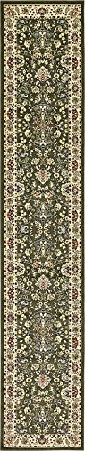 Unique Loom Kashan Collection Green 3 x 16 Runner Area Rug (3' x 16' 5