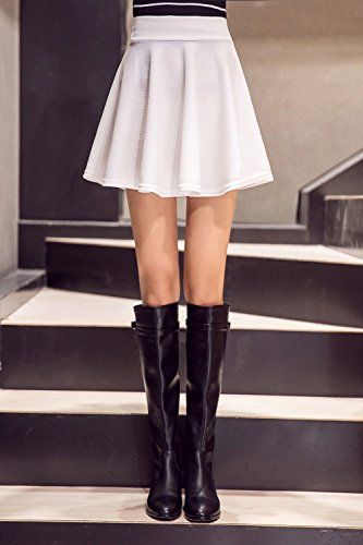 jupe vase Jupe Taille Femmes kemosen mini Blanc Midi courte Haute patineuse lasticit pour pnx6TwA6q