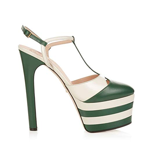 Rex rabbit-SS Fetish High-Heeled Sandals Nightclub Fashion Sexy Platform Sandals Women's Shoes Large Size Shoes,Green,40