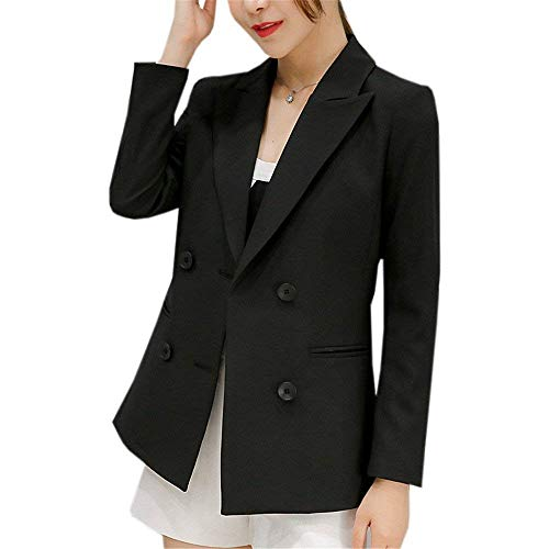 Giacca Ufficio Eleganti Schwarz Camicia Fit Da Tailleur Lunga Casuali Fashion Bavero Slim Manica Donna Business Cappotto Double Autunno Chic Breasted Blazer Classiche pdwx6Wgq