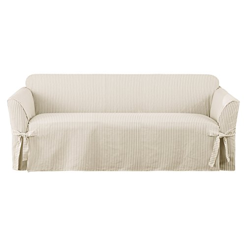 SureFit Ticking Stripe 1-Piece - Sofa Slipcover  - Dove Gray (SF43459)