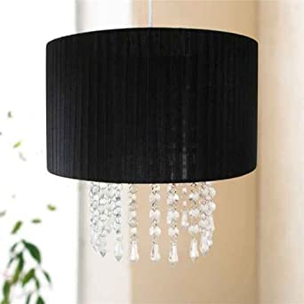 Urbanlife Easy Fit Pendant Black Lampshade with Hanging Crystals ...