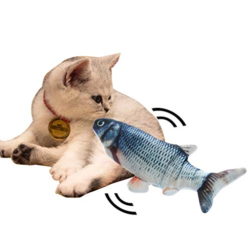 Realistic Plush Simulation Electric Doll Fish, Funny Interactive Pets Chew Bite Supplies for Cat/Kitty/Kitten Fish Flop Cat Toy Catnip Toys - Perfect for Biting, Chewing and Kicking (B) 4