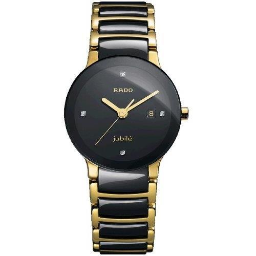 Rado Women's R30930712 Centric Jubile Two Tone Black Ceramic Bracelet Watch (Rado Watches Jubile Women)