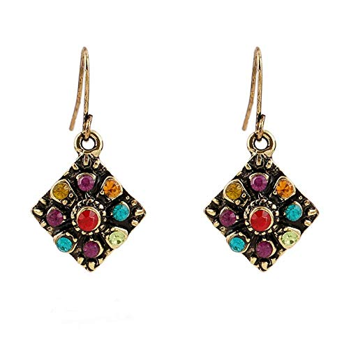 TULIP LY Antique Gold Plated Colorful Crystal Hook Dangle Earrings Bohemian Retro Square Rhinestone Drop Earrings for Women Girls Jewelry Gift