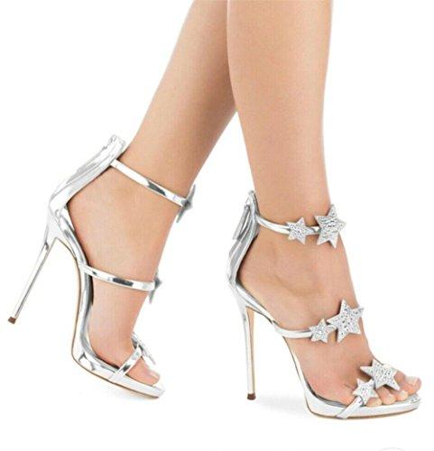 Uk Eur Tacco Alto Scarpe Stella Sandali Stiletto 6 Discoteca Festa Nero 39 Strass Del Dito Sexy Caviglia Piede 5 Cinghia 6 Vestito Argento Sbirciare Donna xWHq1Cn4Xw