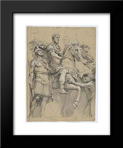 Anonymous Artist, German 17th Century - 15x18 Framed Museum Art Print- Marcus Aurelius on Horseback (Recto); Study of an Antique Vase (Verso)
