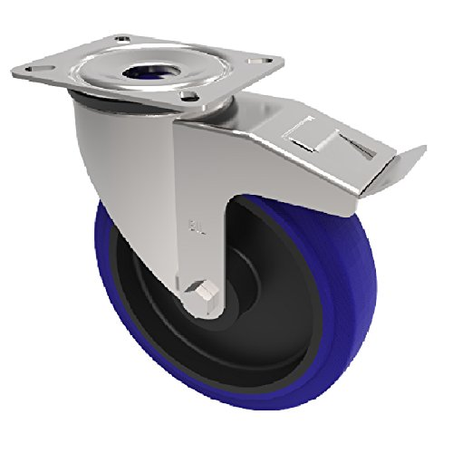 BIL BZMM160RNBSWB Series BZMM Castor, A Elastic Rubber On Nylon, 160 mm Diameter, 195 mm Height, 135 mm x 110 mm Plate, 10 mm Fixing Bolt, 300 kg Load Capacity, 50 mm Tread, 167 mm Radius, Blue BIL Group Ltd
