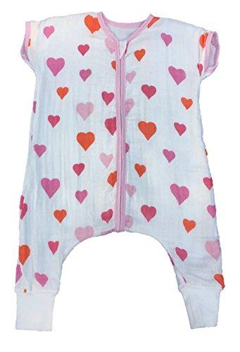 Baby Sleeping Bag With Feet Muslin 1.0 Tog Heart (18-24 months) Babysack