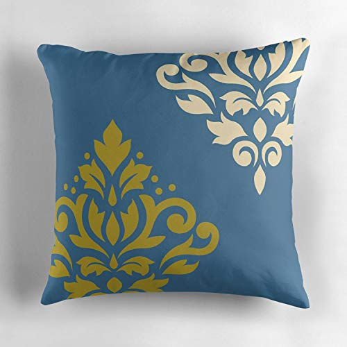 Rdkekxoel Decorative Throw Pillow Cover Cushion Two Sides Printed Pillow Case Square Print for Home Car Decor 18x18 Inch Scroll Damask Art I Gold amp Cream on Blue ()