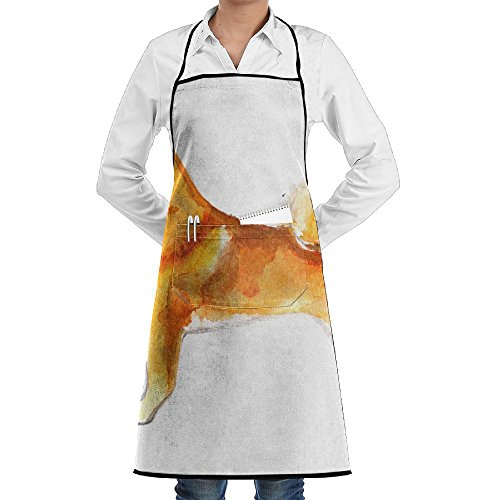 SmallTing Shiba Inu Dog Painted With Watercolors On White Background Japanese Red Durable Cotton Waiter Black One Size Apron With Pockets Adjustable