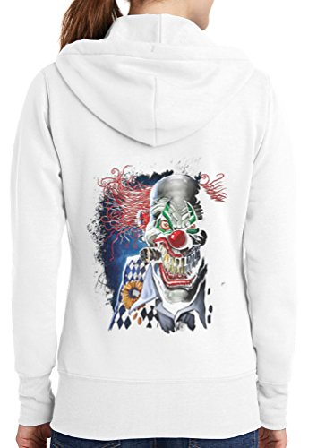 Womens Joker Clown Full Zip Hoodie, White, 4X