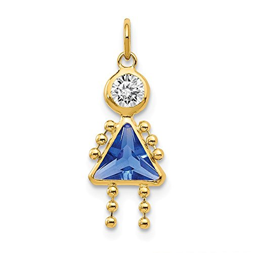 14k Yellow Gold September Girl Birthstone Pendant Charm Necklace Kid Fine Jewelry Gifts For Women For Her