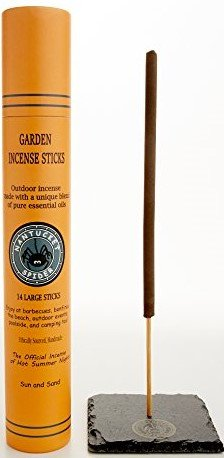 Nantucket Spider Outdoor Garden Incense Sticks, Sun N' Sand (14-Pack); Artisan-Crafted Incense, Natural, Handmade with Essential Oils, Large Bamboo Long-Burn Garden Sticks