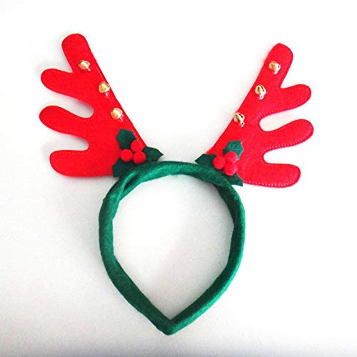 (reative Christmas Decorations Antlers Headband with Rings Party Fancy Hat deer Antlers Headband Christmas Costume for Kids)