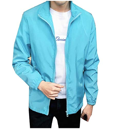 Sky Jackets Size RkBaoye Plus Blue Solid Mandarin Pockets Mens Zip Collar Full Color UwPOaSq