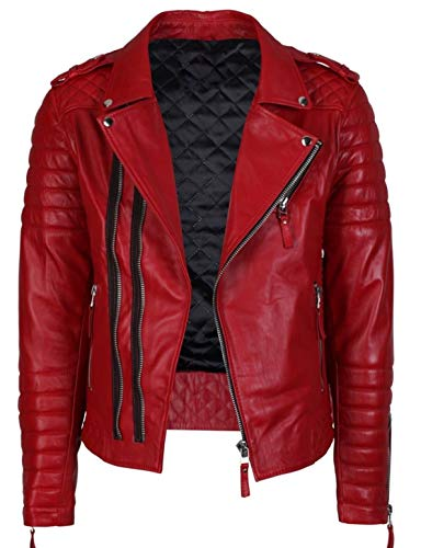 King Leathers Men's Genuine Lambskin Real Leather Jacket Motorcycle Biker Stylish Jacket Red