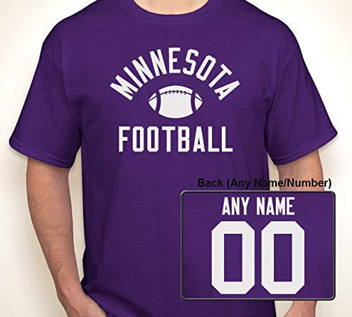 (MINNESOTA (OR ANY TEXT) FOOTBALL WITH OPTIONAL ANY NAME/ANY NUMBER JERSEY | T-shirt S-6XL (Adult), S-XL (Youth) )