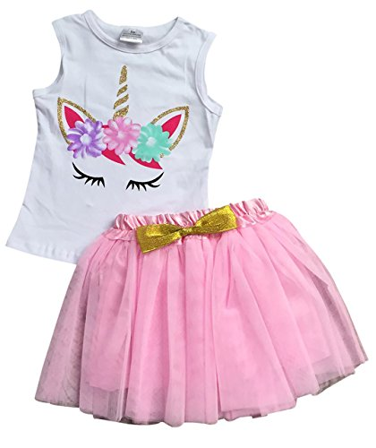 Big Girls' 2 Pieces Skirt Set Unicorns Floral Tank Top Tutu Tulle Skirt Set White 7 XXL (P201468P)