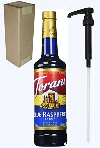 Torani Blue Raspberry Flavoring Syrup, 750mL (25.4 Fl Oz) Glass Bottle, Individually Boxed, With Black ()