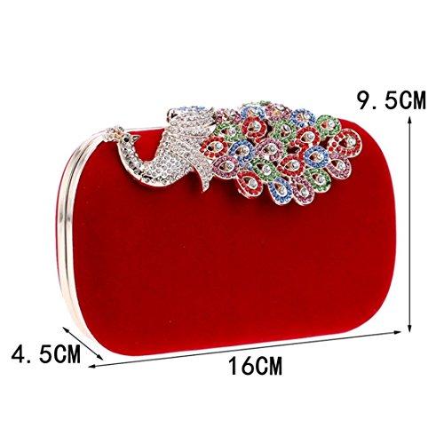 Blue Evening Banquet Bag Purse Diamond Peacock Bag Clutch Ladies KERVINFENDRIYUN Red Color Fashion OPw6x5Xq