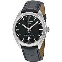 Tissot PR100 Black Dial Men's Black Leather Watch
