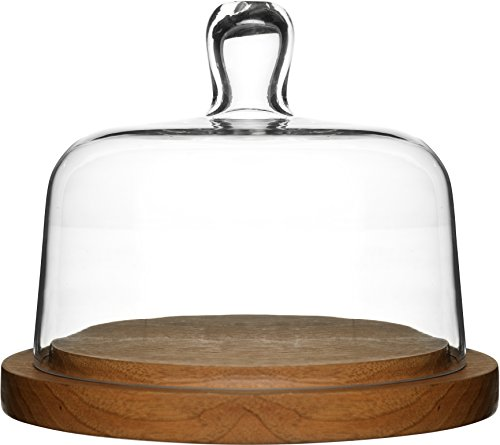 Sagaform 5026044 Oak Cheese Dome with Hand-Blown Glass Lid - Oak Cheese