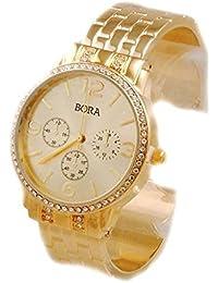 Women's Crystal Glimmering Gold Tone Bangle Cuff Watch