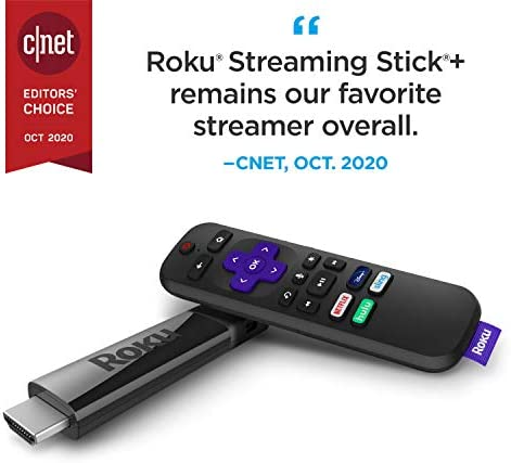 Roku Streaming Stick+ | HD/4K/HDR Streaming Device with Long-range Wireless and Voice Remote with TV Controls