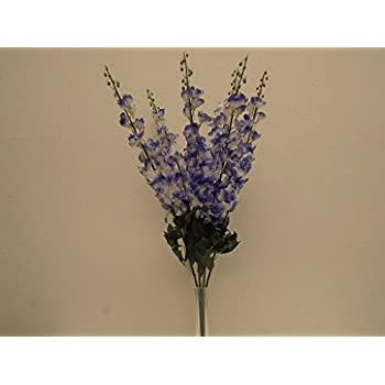 "BLUE WHITE Delphinium Bush Artificial Silk Flowers 28"" Bouquet 6-1056NBL"