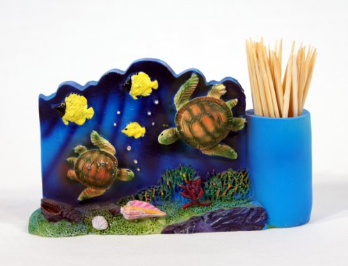 Holder Toothpick Star (Handpainted Ocean Life Pen Holder Toothpick Holder Sea Turtle 4.5