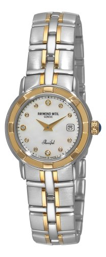 Raymond Weil Women's 9440-STG-97081 Parsifal Diamond Accented 18k Gold-Plated and Stainless Steel Watch (Raymond Weil Diamond Bracelet)