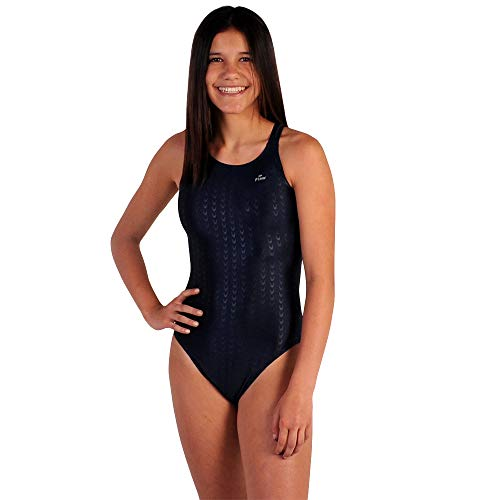 (Flow Girls Swimsuit - One Piece Crossback Competitive Swimsuit Youth Sizes 23 to 30 in Black, Navy, and Blue (28, Navy))
