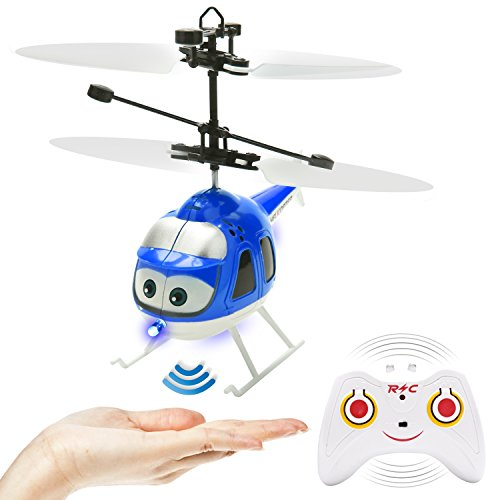 Remote Control Helicopter Toy Plane Flying Toys Induction Hover RC Helicopter with Remote Control, Coloful Shining LED for Kids Teenagers Adults Indoor Outdoor Games (Blue) ()
