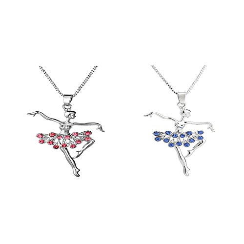 XIAOLI Little Girl Necklace Dancer Ballet Recital Gift Ballerina Dance Necklaces (2Pcs Pink & Blue)