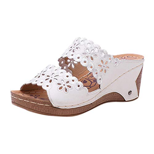 FengGa Women's Wedge Slippers Summer Fashion Casual Hollow Out High Heels Ladies Shoes Soft Thick Platforms Sandals White
